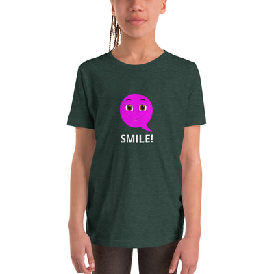 Bubblelingo  Smiley Emoji  Girls' Sleeve T-Shirt Heather Forest