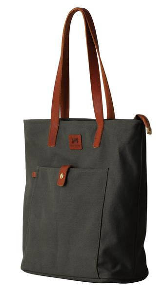 Olive Green Canvas Zippered Tote Bag