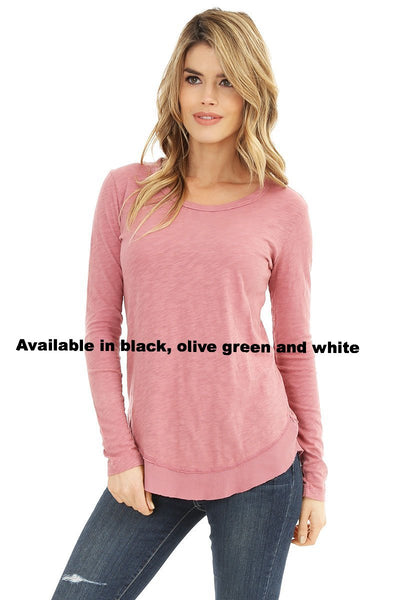 Long Sleeve Curved Hem Top