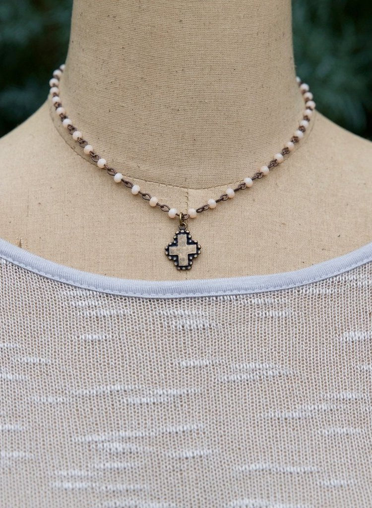 Short White Beaded Cross or Moon Charm Necklace