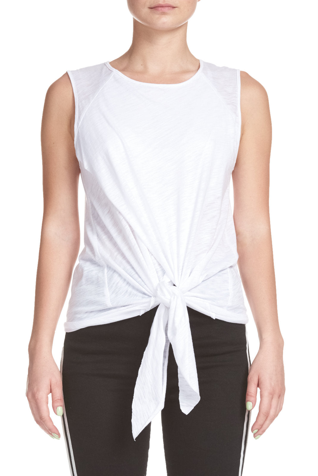 White Sleeveless Top with Tie Front