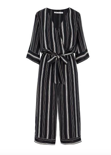 Navy blue stripe midi romper
