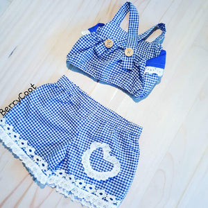 Gingham ruffle crop set