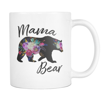 Mama Bear Floral Silhouette Coffee Mugs