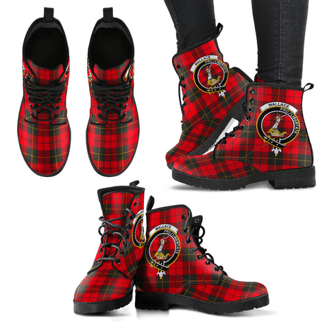 Wallace Weathered Tartan Clan Badge Leather Boots