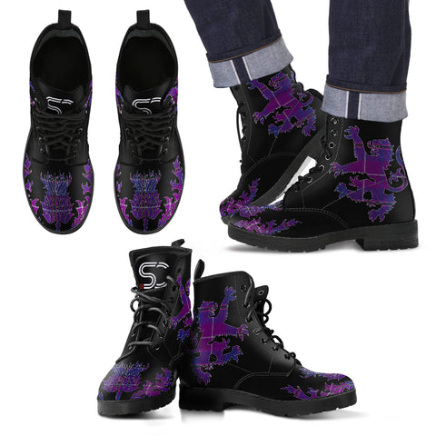 Pride of Glencoe Tartan Leather Boots Lion And Thistle TH8