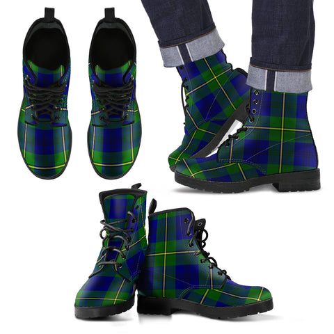 Image of Johnston Modern Tartan Leather Boots Footwear Shoes