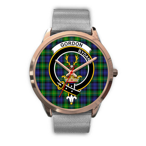 Image of Gordon Modern, Rose Gold Metal Link Watch,  leather steel watch, tartan watch, tartan watches, clan watch, scotland watch, merry christmas, cyber Monday, halloween, black Friday