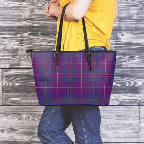Image of Pride of Glencoe Tartan Leather Tote Bag (Large) | Over 500 Tartans | Special Custom Design