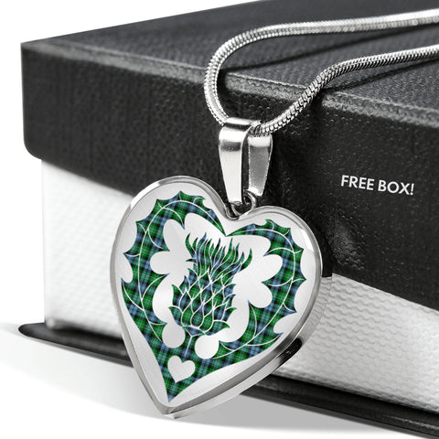 Armstrong Ancient Tartan Luxury Necklace Heart Shape Thistle