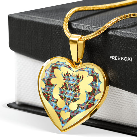 Anderson Ancient Tartan Luxury Necklace Heart Shape Thistle