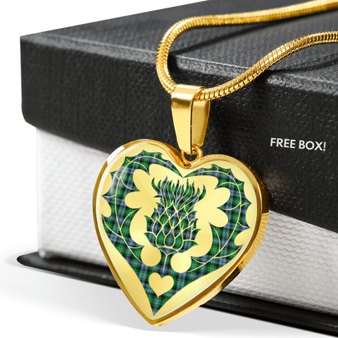Arbuthnot Ancient Tartan Luxury Necklace Heart Shape Thistle