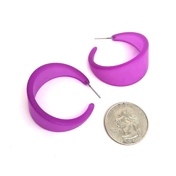 Violet Frosted Lucite Bettie Hoop Earrings