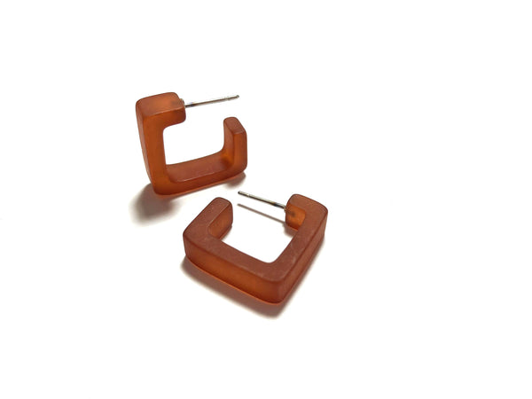 small brown square earrings