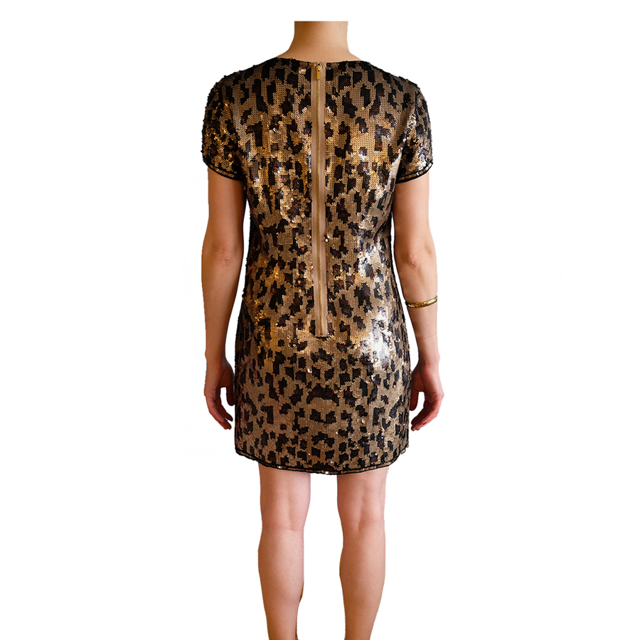 BCBGMAXAZRIA Cheetah Sequin Shirt Dress