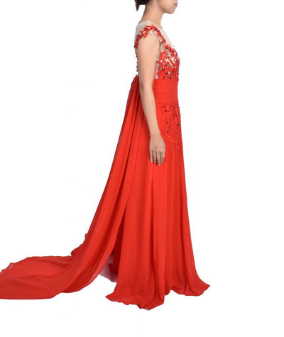 Handmade Red Lace Gown - Boro Dress Rentals