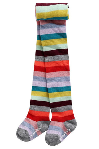 Rainbow Stripe Footed Tights