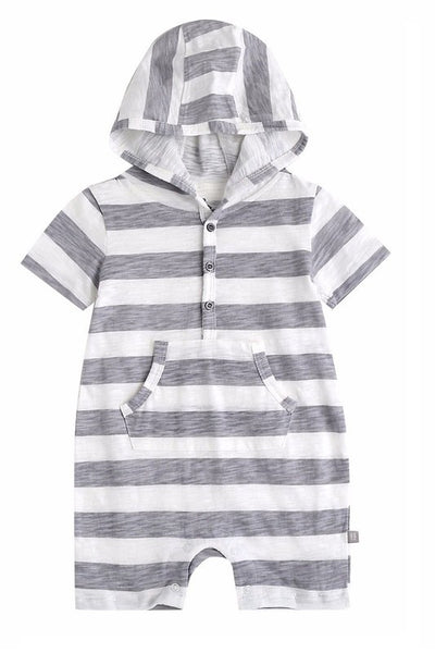 Striped Baby Hooded Romper