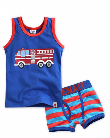 Fire Truck Under Shirt & Boxer Set