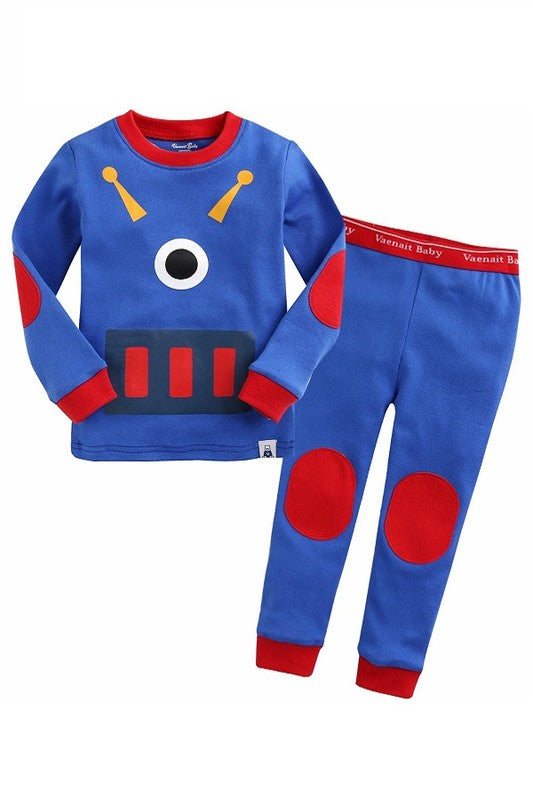 Blue Robot Long Sleeve Pajama Set