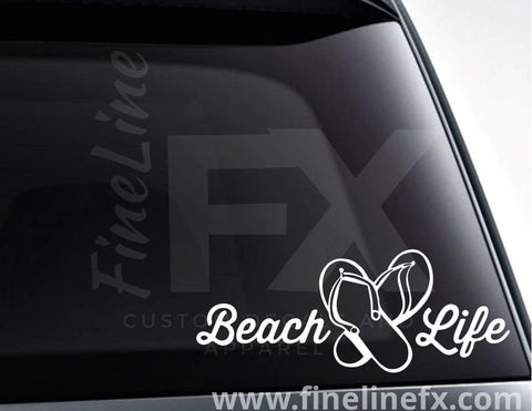 Flip Flops Beach Life Vinyl Decal Sticker
