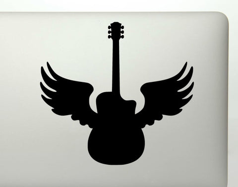 Guitar With Angel Wings Memorial Vinyl Decal Sticker