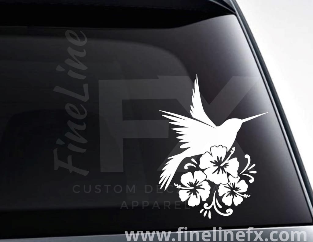 Hummingbird And Tropical Flowers Vinyl Decal Sticker