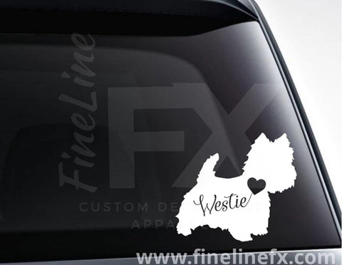 Westie Dog With Heart Vinyl Decal Sticker