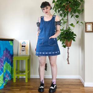 Vintage Denim Jumper Dress - L