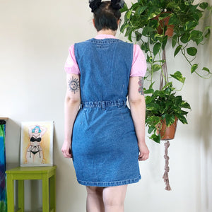 Vintage Denim Button Front Jumper Dress - L/XL