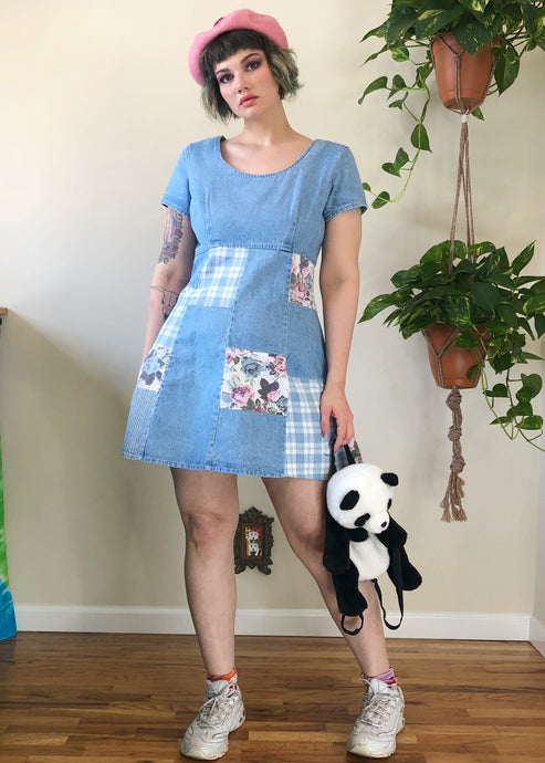 Vintage Denim Patchwork Mini Dress - XL