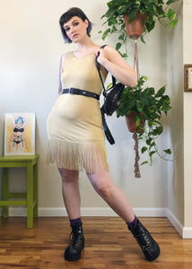 Vintage Golden Fringe Mini Dress - M/L/XL