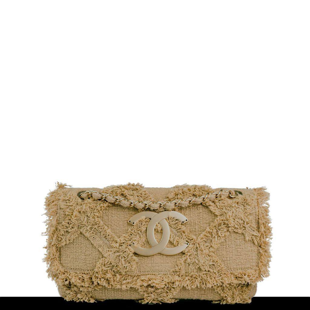Chanel Small Crochet Organic Fringe Tweed Flap