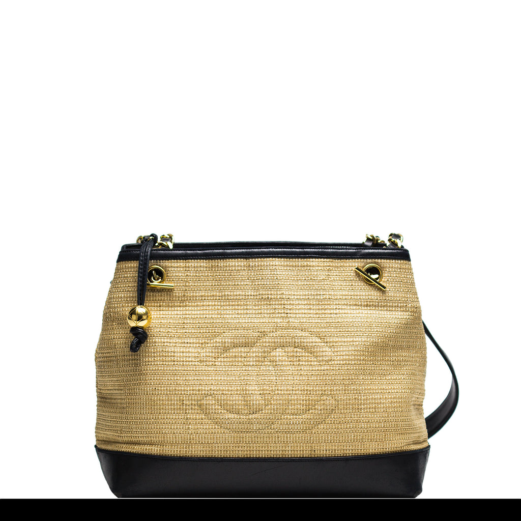 Chanel Woven Straw and Lamb Tote