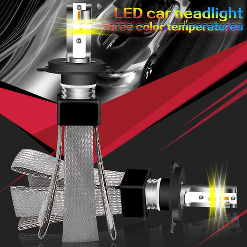 "Automotive ""ColorSHIFT Tri-Color"" LED Headlight Bulbs w/ Copper Ribbon 9600 Lumen 48 Watt - Cool White - Warm White - Golden Yellow - BROS International Co., Limited BROSintl"