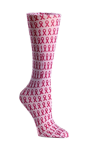 Breast Cancer Awareness Ribbons 8-15 mm/Hg Graduated Compression Socks - XEJRA