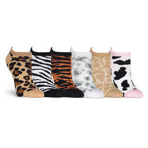 Animal Prints 6 Pair Pack - No Show Socks - XEJRA