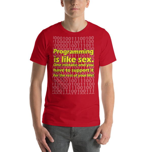 "Classic T-Shirt (Red) - Design ""Programming is like sex."""