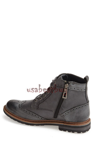 New Handmade Brogue Style Black Leather Ankle Boots, Men Stylish leather boots
