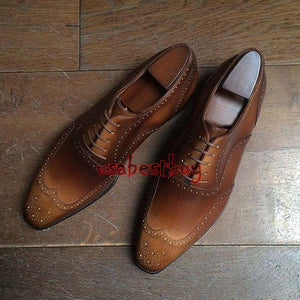 New Handmade Brogue Style Brown Genuine Leather Shoes, Men leather Shoes Laces