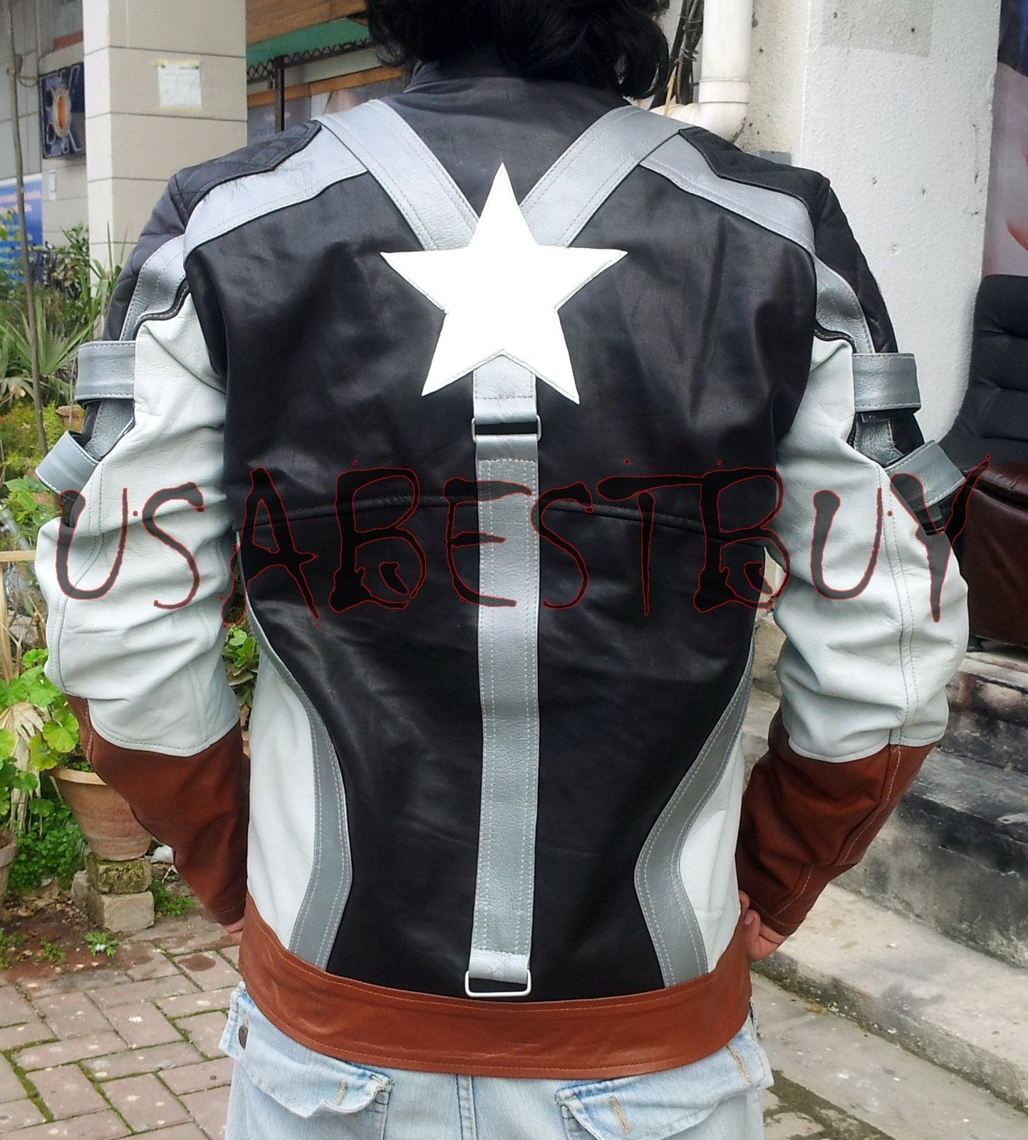 Handmade New Men Captain America Black Leather Jacket, Men Leather jacket