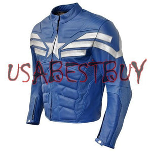 Custom Handmade Motorcycle Leather Jacket in Captain America 2014 Style Padded