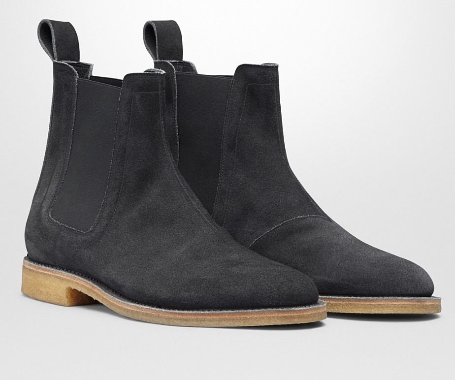 New Handmade Mens Black Chelsea Suede Leather Boots with Crepe Sole