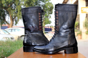 Custom Handmade Men Military Leather Combat Boots, Men Boots, Real leather boots