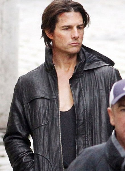 Handmade CUSTOM MI4 TOM CRUISE LEATHER JACKET, TOM CRUISE MOVIE HOODED JACKET