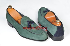 New Handmade Men Classic Style Real Leather Green Moccasins, men leather shoes
