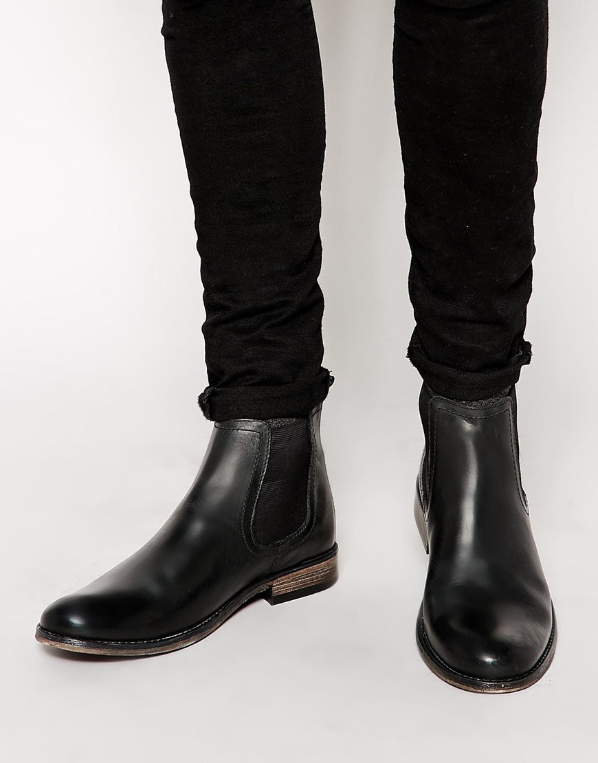 New Handmade Mens Black Round Toe Chelsea Real Leather Boots, Men leather boot