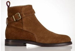 New Handmade Mens Jodhpur Brown Suede Ankle High Welted Sole Boots