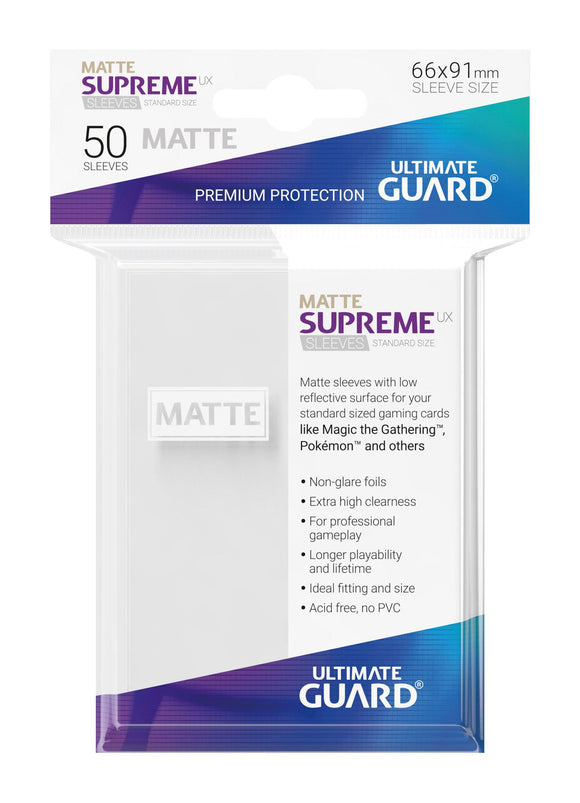 Ultimate Guard Supreme UX Sleeves Standard Size Matte White (50)