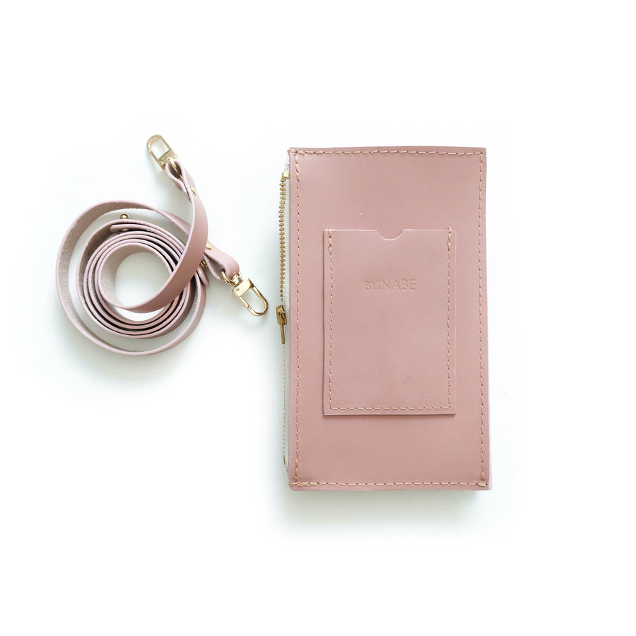 Dusty Rose Travel Purse (Cellphone Case) Pink cellphone sling with leather strap
